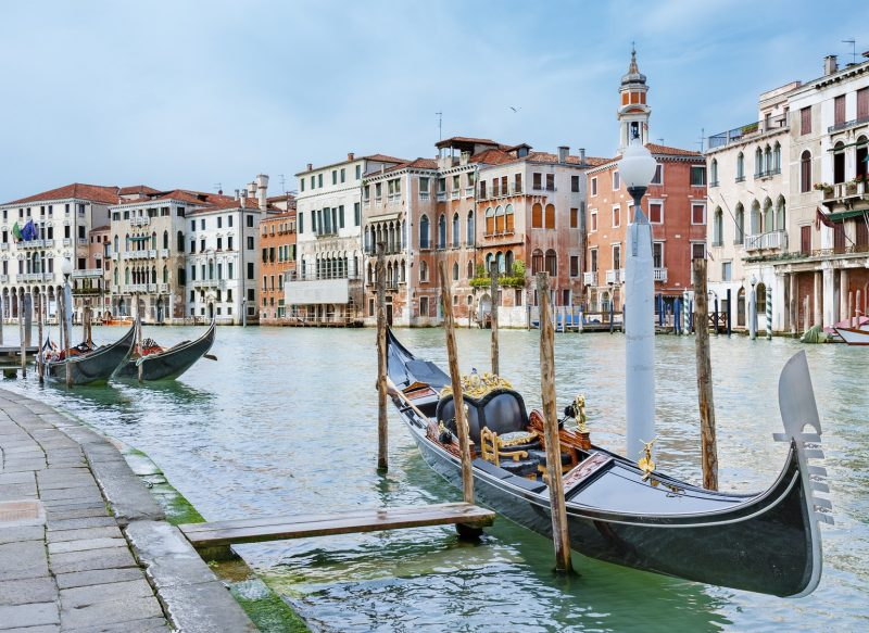 Gondole floating in Venice, Italy