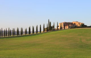 Landscape in Tuscany with luxury villa and cipresses